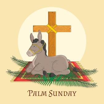 Ręcznie rysowane ilustracji niedziela palmowa