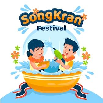 Ręcznie rysowane ilustracji songkran
