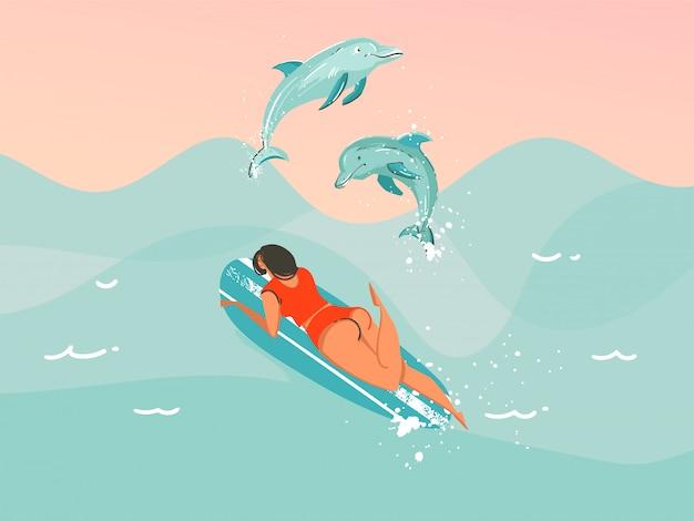 Ręcznie rysowane ilustracji streszczenie z strój kąpielowy pływanie surfing kobieta ze skaczącymi delfinami na tle niebieskiej fali oceanu.