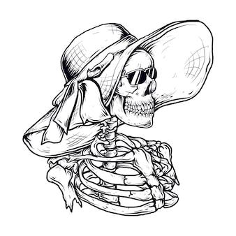 Ręcznie rysowane ilustracji szkielet kobiety z kapeluszem plażowym i okularami przeciwsłonecznymi
