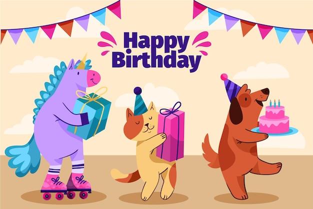 Ręcznie rysowane ilustracji urodziny tło