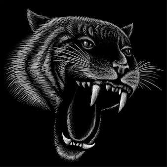 Ręcznie rysowane ilustracji w stylu kredą tygrysa