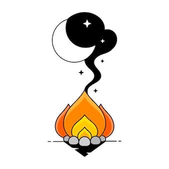 Ręcznie rysowane ilustracji wektorowych - dobranoc, karta z księżycem i chmurami