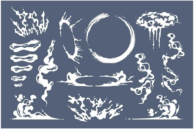 Ręcznie rysowane ilustracji wektorowych kolekcji dymu