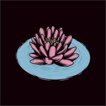 Ręcznie rysowane ilustracji wektorowych kwiat lotosu