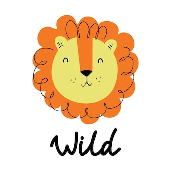 Ręcznie rysowane ilustracji wektorowych ładny lew ręcznie rysowane ilustracji wektorowych na plakaty karty tshirt