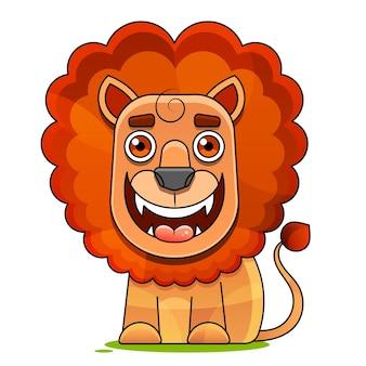 Ręcznie rysowane ilustracji wektorowych ładny zabawny lew w koronie. pojedyncze obiekty. płaska konstrukcja w stylu skandynawskim. koncepcja druku dla dzieci.