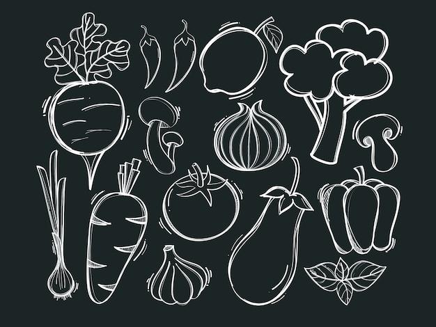 Ręcznie rysowane ilustracji wektorowych organicznych warzyw