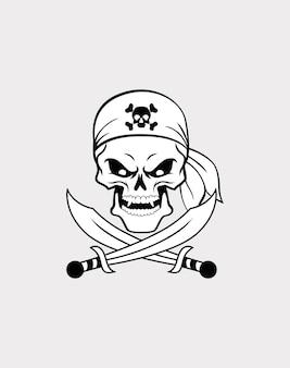 Ręcznie rysowane ilustracji wektorowych piratów czaszki