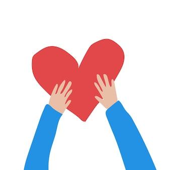 Ręcznie rysowane ilustracji wektorowych ręki trzymającej serce na białym tle walentynki