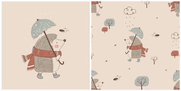 Ręcznie rysowane ilustracji wektorowych słodkiego jeża z parasolem i bez szwu wzór