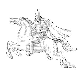 Ręcznie rysowane ilustracji wektorowych starego rosyjskiego rycerza z zbroją i hełmem na koniu heraldyka