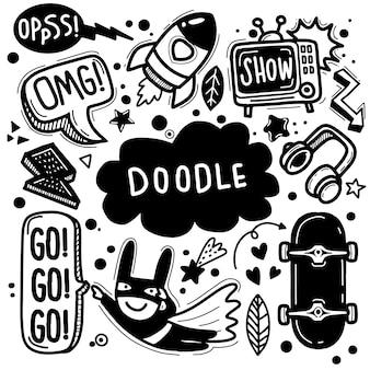 Ręcznie rysowane ilustracji wektorowych zestawu doodle, rysowanie narzędzi linii ilustrator, płaska konstrukcja