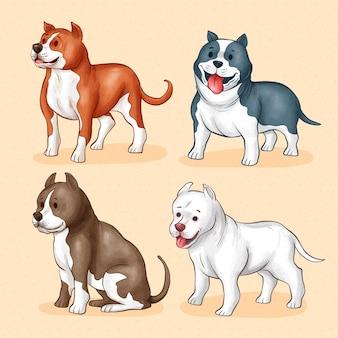 Ręcznie rysowane ilustrowana kolekcja pitbull