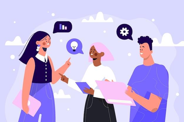 Ręcznie rysowane ilustrowana koncepcja komunikacji biznesowej