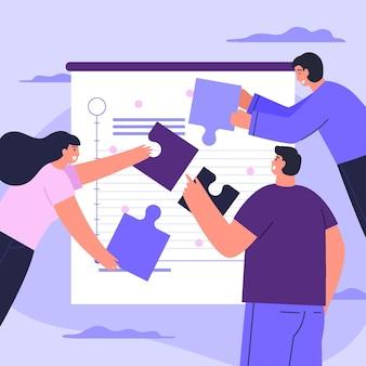 Ręcznie rysowane ilustrowana koncepcja pracy zespołowej