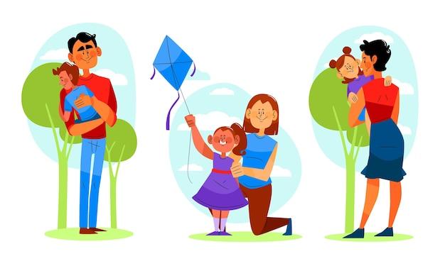 Ręcznie rysowane ilustrowana scena rodzinna