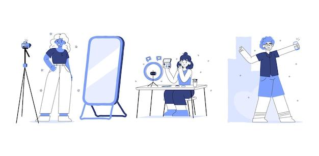 Ręcznie rysowane ilustrowane filmowanie blogerów