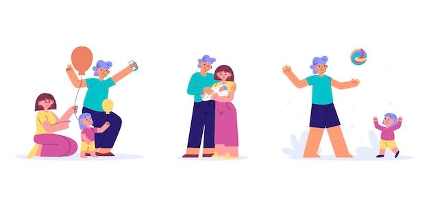 Ręcznie rysowane ilustrowane sceny rodzinne