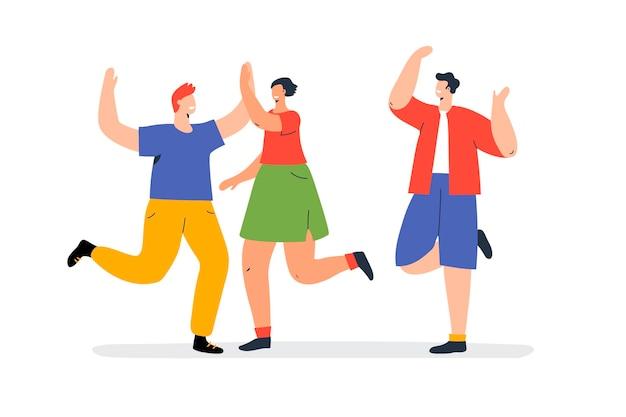 Ręcznie rysowane ilustrowani ludzie tańczą