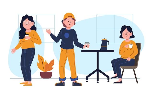Ręcznie rysowane ilustrowani ludzie trzymający gorące napoje