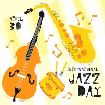 Ręcznie rysowane ilustrowany międzynarodowy dzień jazzu