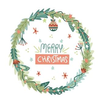 Ręcznie rysowane ilustrowany wieniec bożonarodzeniowy