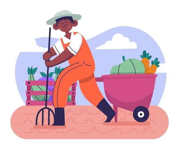 Ręcznie rysowane ilustrowany zawód rolnika