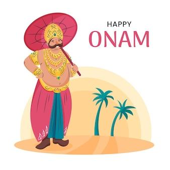 Ręcznie rysowane indyjska ilustracja onam