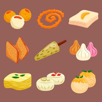 Ręcznie rysowane indyjska słodka kolekcja