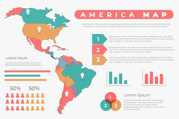 Ręcznie rysowane infografika mapa ameryki