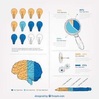 Ręcznie rysowane infografika szablon z różnych wykresów