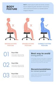 Ręcznie rysowane infografiki korekcji postawy