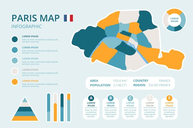 Ręcznie rysowane infografiki mapy paryża