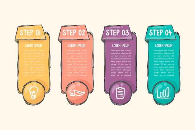 Ręcznie rysowane infographic szablon