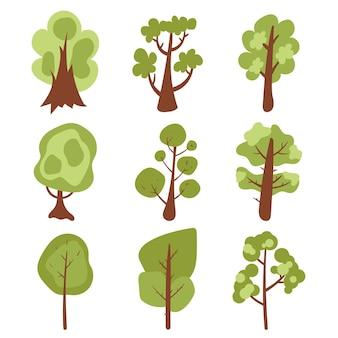 Ręcznie rysowane inny rodzaj kolekcji drzew