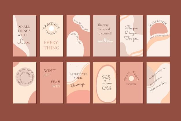 Ręcznie rysowane inspirujące cytaty kolekcja historii na instagramie