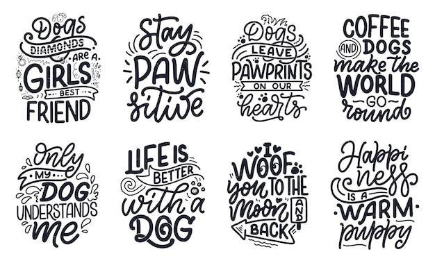 Ręcznie rysowane inspirujące cytaty o psach.