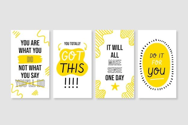 Ręcznie rysowane inspirujące cytaty z historii na instagramie