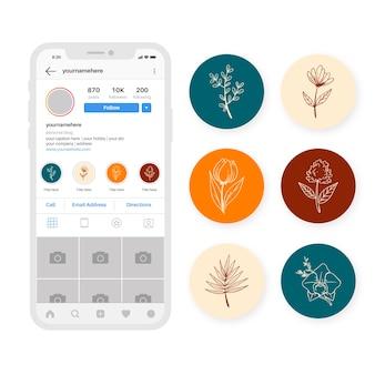 Ręcznie rysowane instagram kwiatowe historie podkreśla zestaw