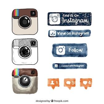 Ręcznie rysowane instagram logo i przyciski