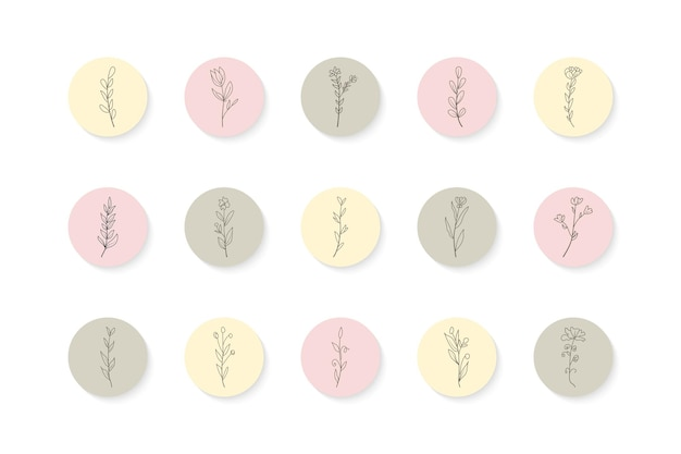 Ręcznie rysowane instagramowe historie kwiatowe podkreśla zestaw