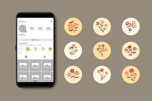 Ręcznie rysowane instagramowe historie kwiatowe podkreślają kolekcję