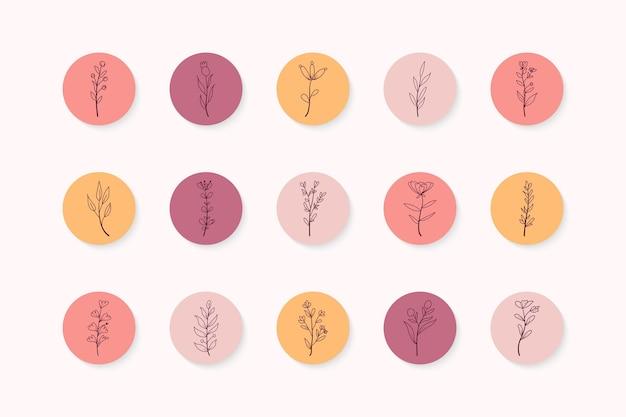 Ręcznie rysowane instagramowe kolorowe kwiatowe historie podkreśla zestaw