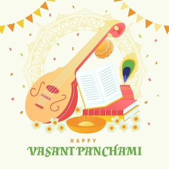 Ręcznie rysowane instrument muzyczny vasant panchami