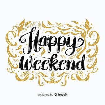 Ręcznie rysowane intrincate ozdoby weekendowe pozdrowienia