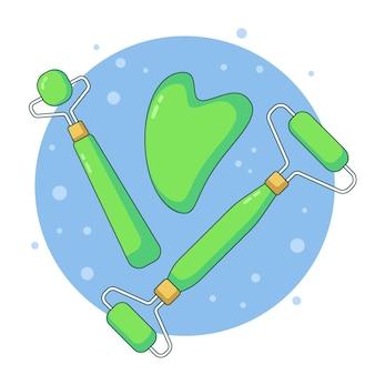 Ręcznie rysowane jadeitowe rolki i ilustracja gua sha