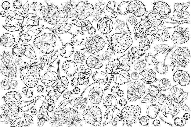 Ręcznie rysowane jagody zestaw