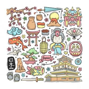 Ręcznie rysowane japonia doodle kolorowe