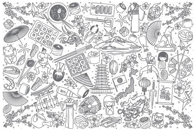 Ręcznie rysowane japonia doodle zestaw